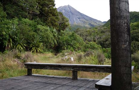 Mount Taranaki from the deck of Waingongoro Hut.