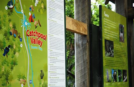 Catchpool Valley info panels - close up.