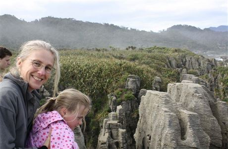 Mother and child looking at Pancake Rocks.