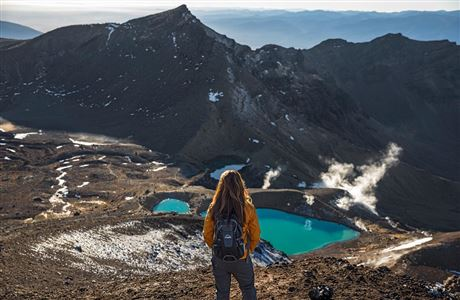 Overlooking Emerald Lakes on the Tongariro Alpine Crossing.