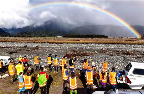 Volunteers under the rainbow.
